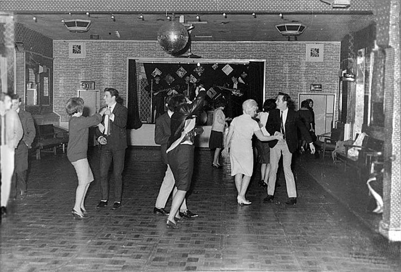 The Beatles play for 18 people in the Aldershot club, December 1961. They were to become superstars in one and a half years time