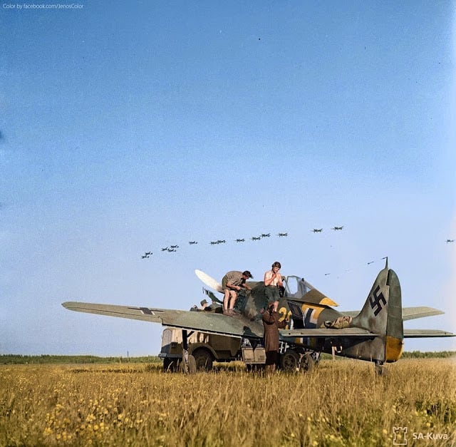 Focke Wulf FW-190A6 Nº20 of 4./Jagdgeschwader 54 (JG 54) on the airfield at Immola in Finland. 2nd of July 1944. (Source - SA-kuva. Colorized by Jared Enos)
