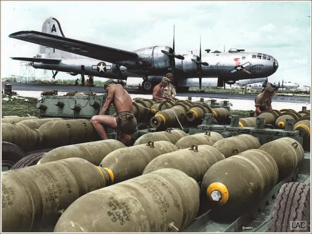 "Boeing B-29 Superfortress 42-24592 ""Dauntless Dotty"" 869th Bomb Squadron, 497th Bomb Group, 73rd Bomb Wing, 20th Air Force. 24th of November 1944. (Source 'Life' Magazine. Colorized by Leo Courvoisier from Argentina)"